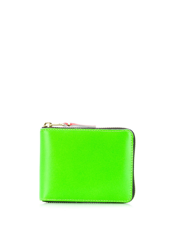 Comme Des Garçons Colour Block Zip Wallet In Green