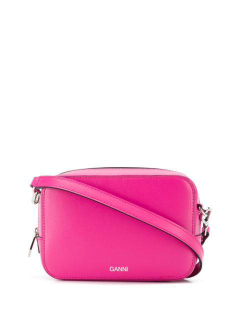 Ganni Textured Leather Camera Crossbody Bag In Pink