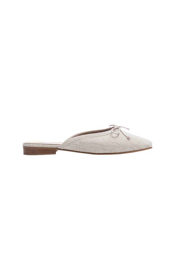 Flattered Malva Linen Mules In White
