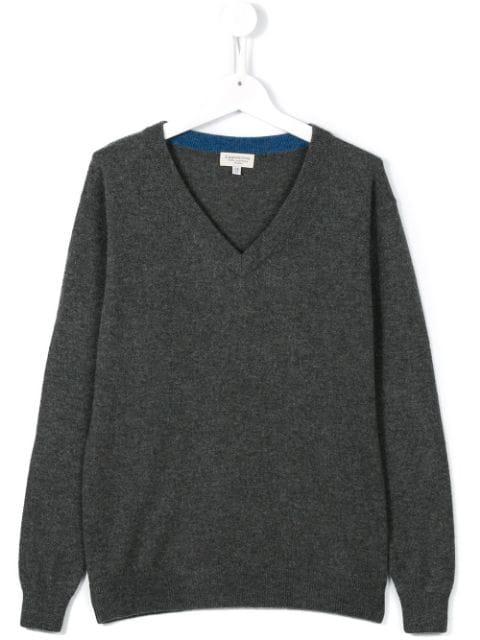 Cashmirino Kids' V-neck Knitted Jumper In Grey