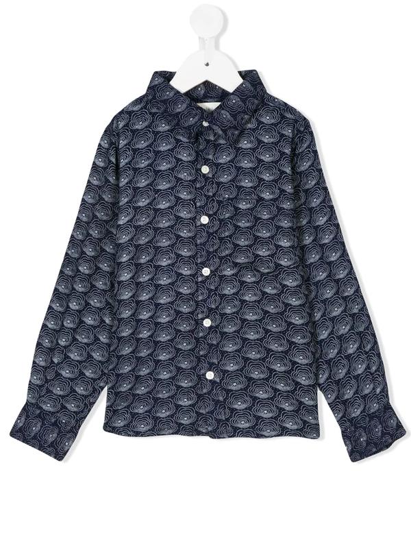 Simple Kids' Long Sleeved Printed Shirt In Blue