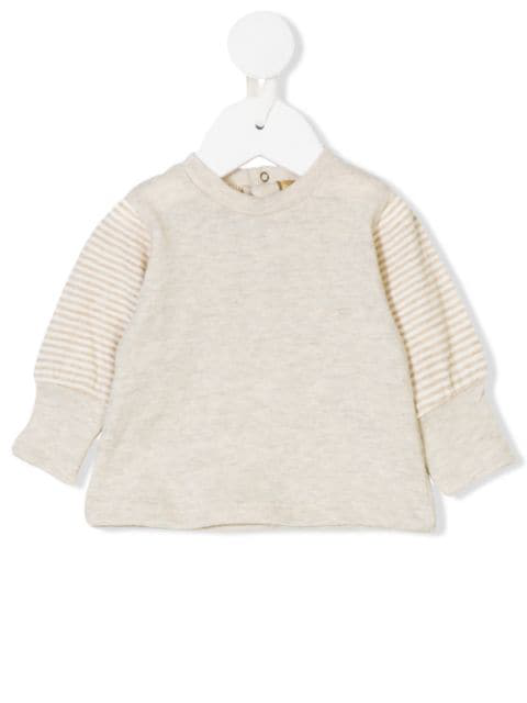 Gold Belgium Babies' Striped Sleeves Jumper In Neutrals