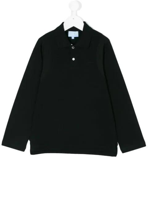 Lanvin Enfant Kids' Long Sleeved Polo Shirt In Black