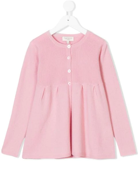 Cashmirino Kids' Pleated Hem Knitted Cardigan In Pink