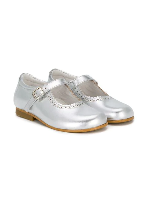 Andanines Shoes Kids' Scalloped Detail Ballerinas In Grey
