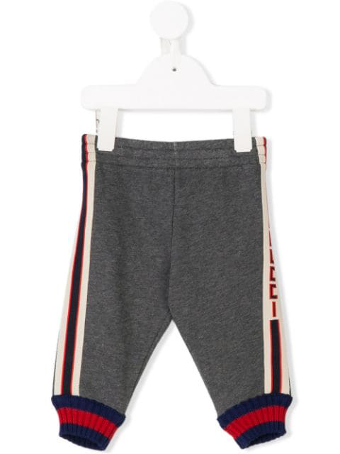 Gucci Babies' Striped Piped Track Pants In Grey