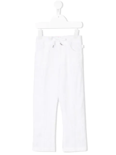 Il Gufo Kids' Drawstring Straight Trousers In White