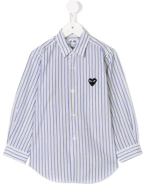 Comme Des Garçons Kids' Heart Pinstripe Shirt In White