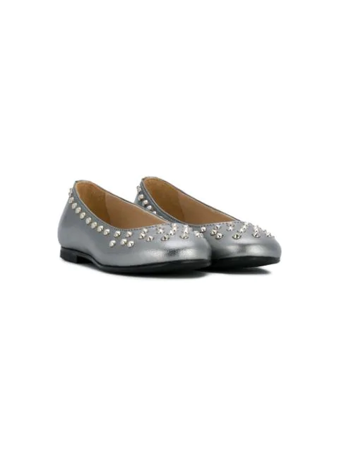 Ermanno Scervino Junior Kids' Studded Ballerinas In Grey