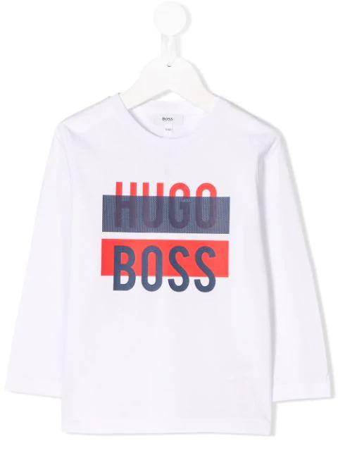 Hugo Boss Kids' Logo Print T-shirt In White