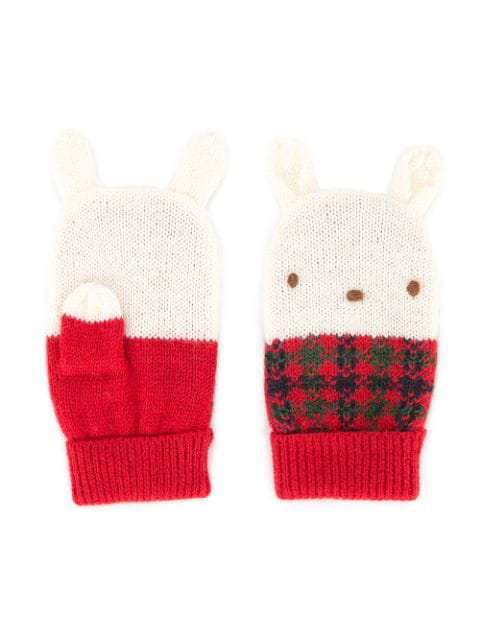 Familiar Babies' Knitted Bunny Mittens In Red