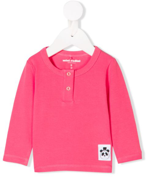 Mini Rodini Babies' Snap-button Long Sleeve Top In Pink