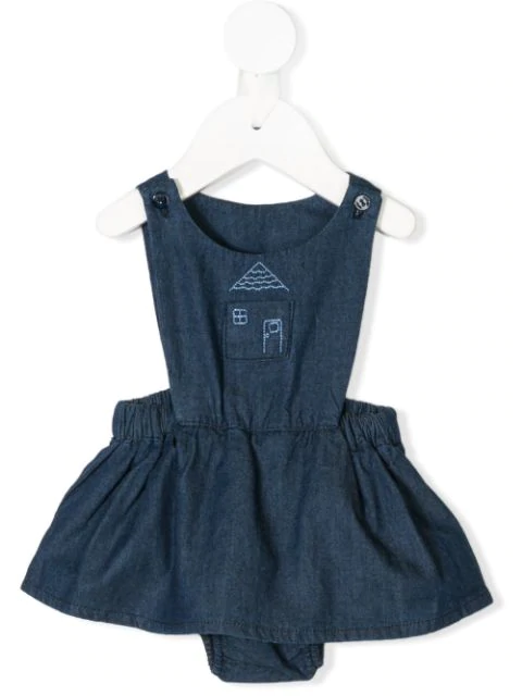 Knot Babies' Hygge House Denim Pinafore In Blue