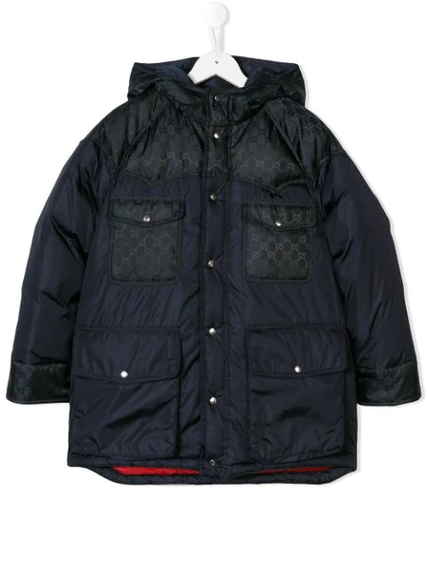 Gucci Kids' Logo Print Padded Coat In Blue