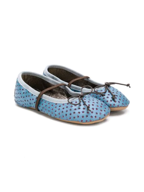 Pèpè Kids' Glitter Stars Ballerinas In Blue