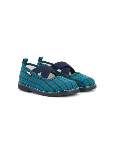 Familiar Kids' Tartan Ballerinas In Blue