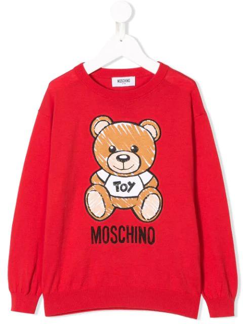 Moschino Kids' Logo Bear Print Jumper In Red