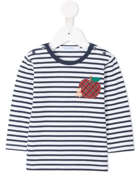 Familiar Babies' Apple Patch Striped T-shirt In White