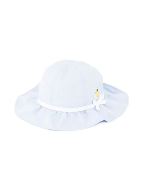 Familiar Kids' Flower Detail Sun Hat In Blue