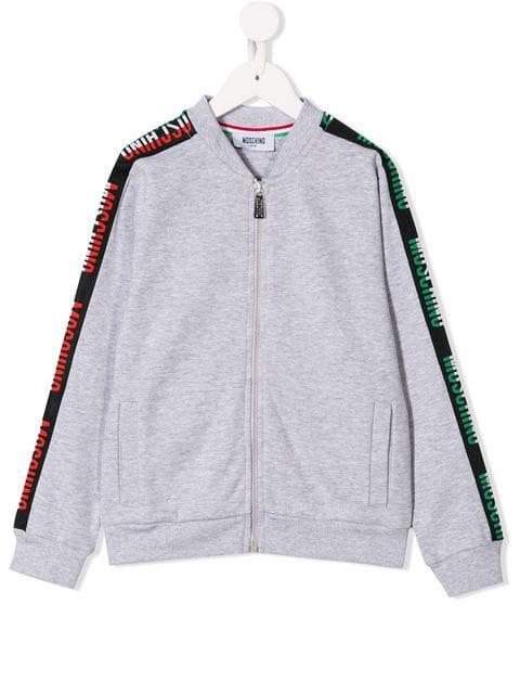 Moschino Kids' Logo Bomber Jacket In Grey
