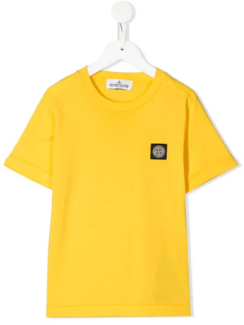 Stone Island Junior Kids' Logo Patch T-shirt In Yellow