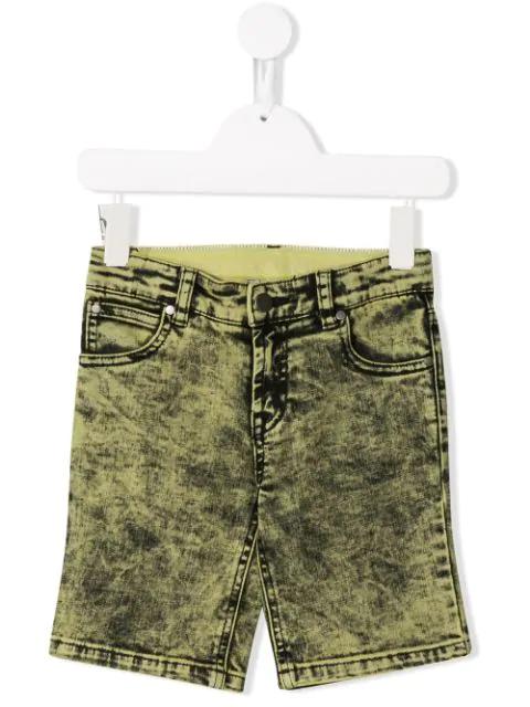 Stella Mccartney Kids' Stonewashed Denim Shorts In Yellow