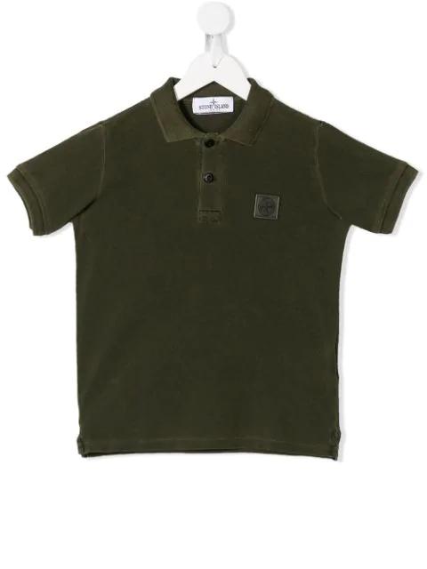Stone Island Junior Kids' Logo Patch Polo Shirt In Green