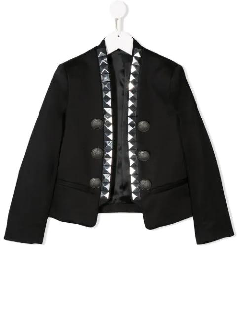 Balmain Kids' Studded Button-embellished Jacket In Black