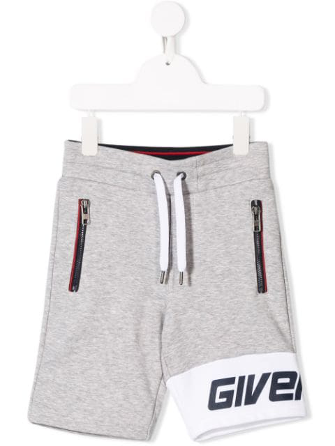 Givenchy Kids' Logo Panelled Jogging Shorts In Grey