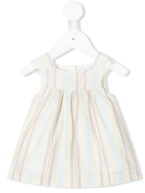 Knot Babies' Rhythm Stripes Pinafore Dress In Neutrals