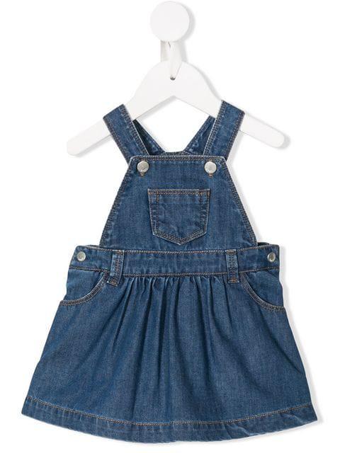 Knot Babies' Denim Pinafore Dress In Blue