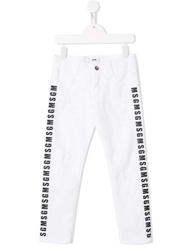 Msgm Kids' Logo Print Distressed Jeans In White