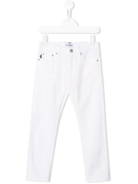 Stone Island Junior Kids' Slim-fit Jeans In White