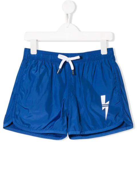Neil Barrett Kids' Classic Nylon Swim Shorts In Blue