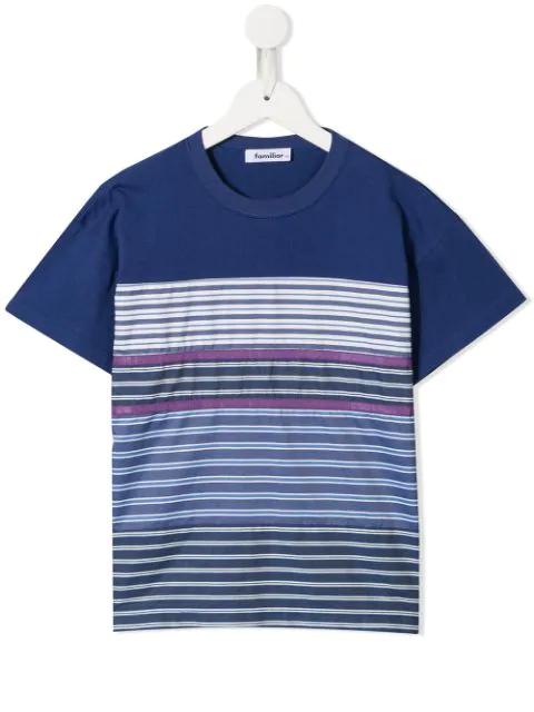 Familiar Kids' Striped T-shirt In Blue