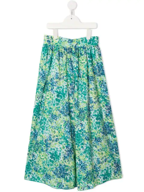 Familiar Kids' Floral Print Palazzo Pants In Green