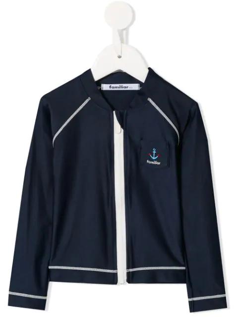 Familiar Kids' Contrast Stitch Track Jacket In Blue