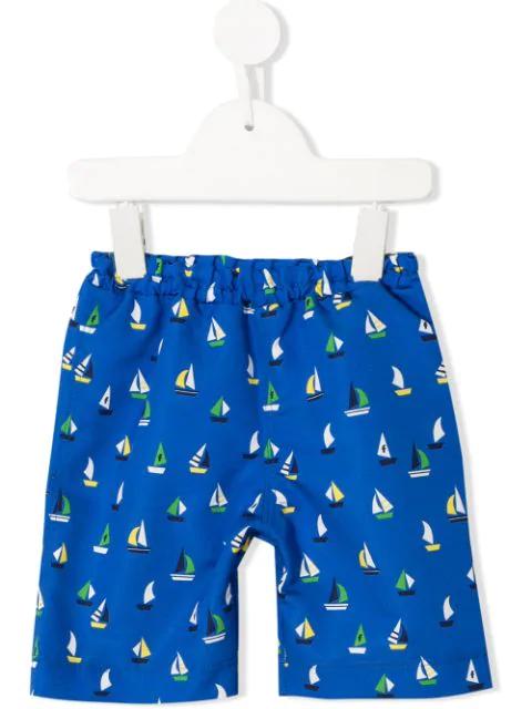 Familiar Kids' Boat Print Swim Shorts In Black