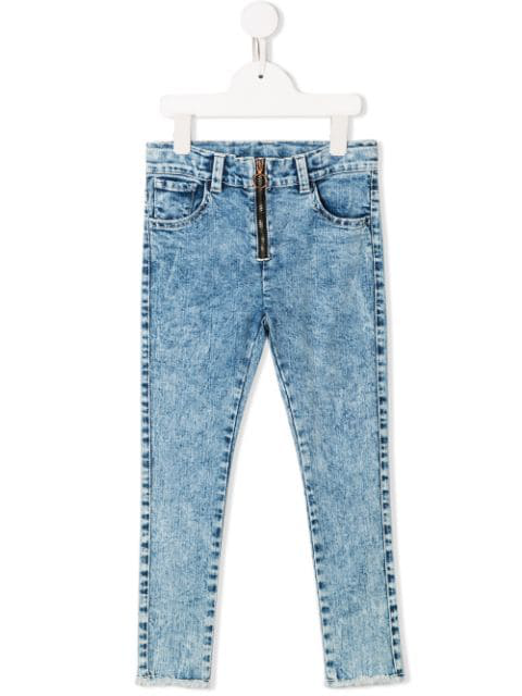 Andorine Kids' Skinny-jeans Mit Bleached-effekt In Blue