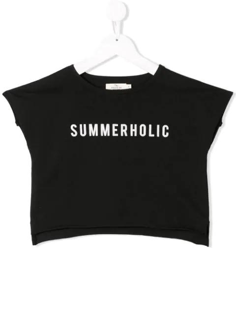 Andorine Kids' Summerholic Print T-shirt In Black