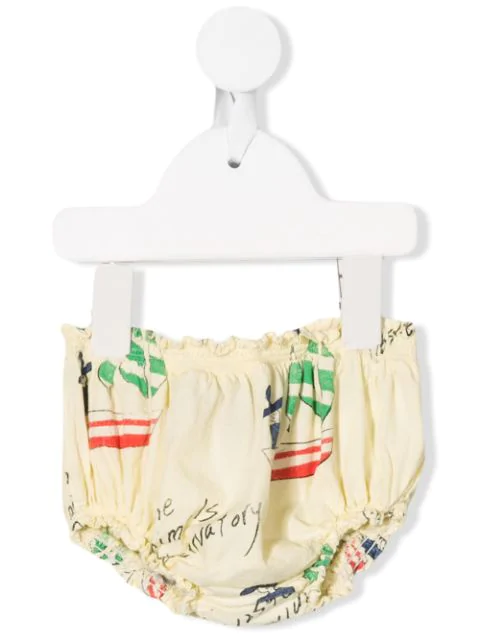The Animals Observatory Babies' Frilled Graphic Bloomers In Yellow