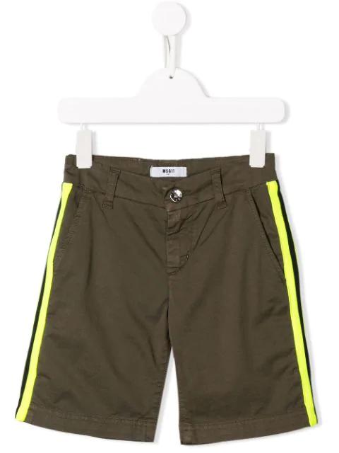 Msgm Kids' Khaki Green Shorts