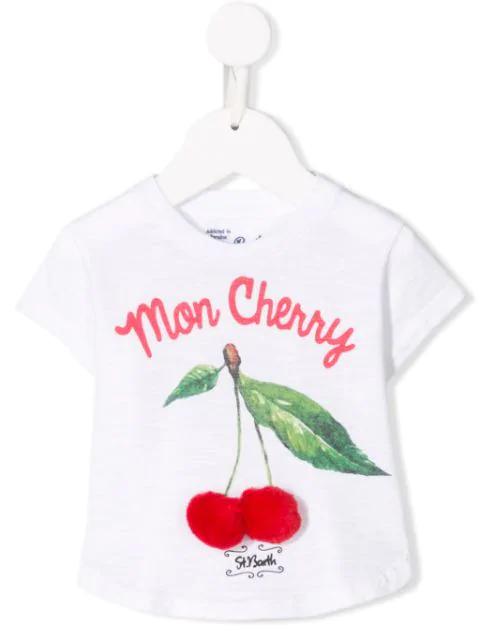 Mc2 Saint Barth Kids' Mon Cherry T-shirt In White