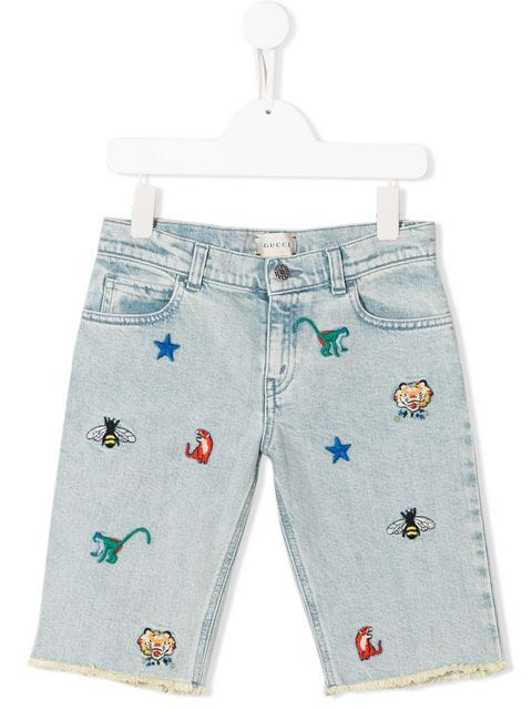 Gucci Kids' Embroidered Denim Shorts In Blue