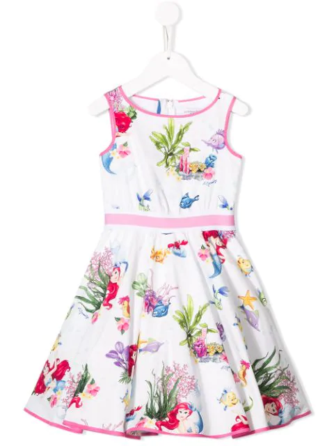 Monnalisa Kids' The Little Mermaid Dress In White