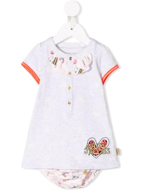 Little Marc Jacobs Babies' Ruffle Detail Dress In Grey