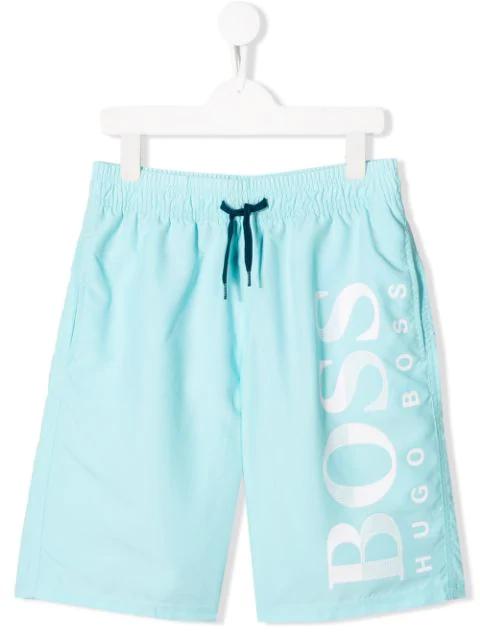 Hugo Boss Teen Logo Swim Shorts In Blue