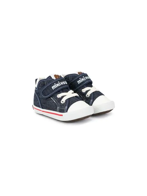 Miki House Babies' Logo Touch-strap Shoes In Blue