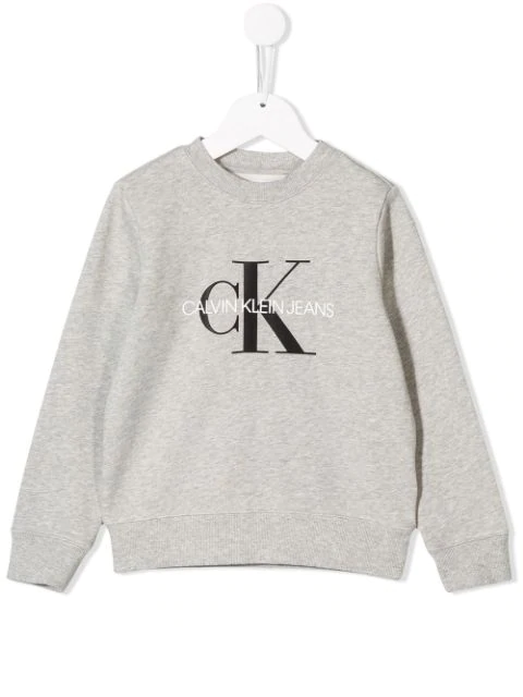 Calvin Klein Teen Printed Logo Sweatshirt In Grey