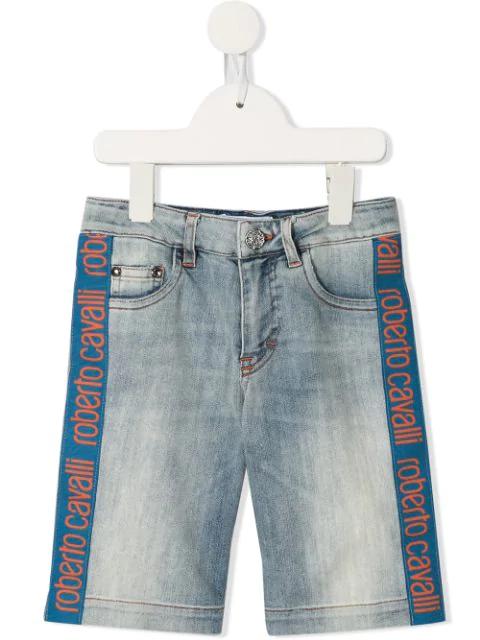 Roberto Cavalli Junior Kids' Side Logo Shorts In Blue
